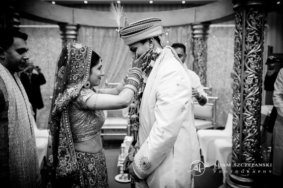 black and white photography of the asian married couple in london