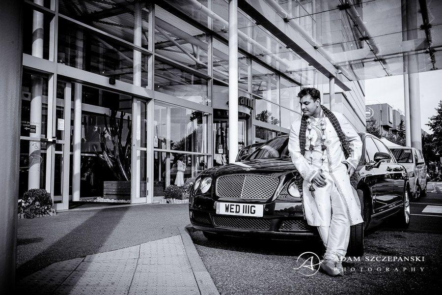 Asian Wedding Photographer groom and the car london city