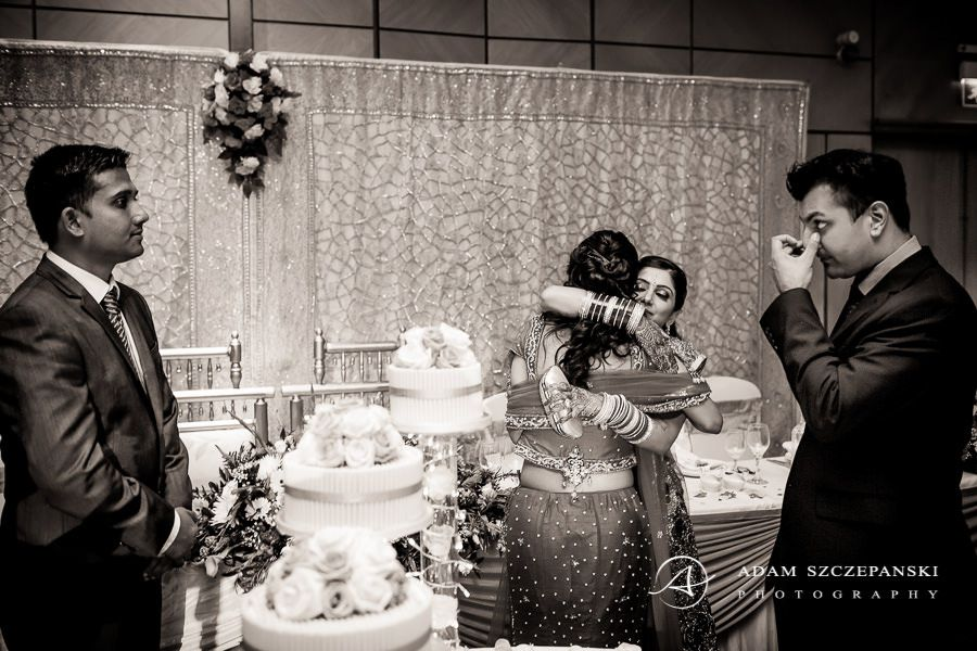 black and white asian wedding photo