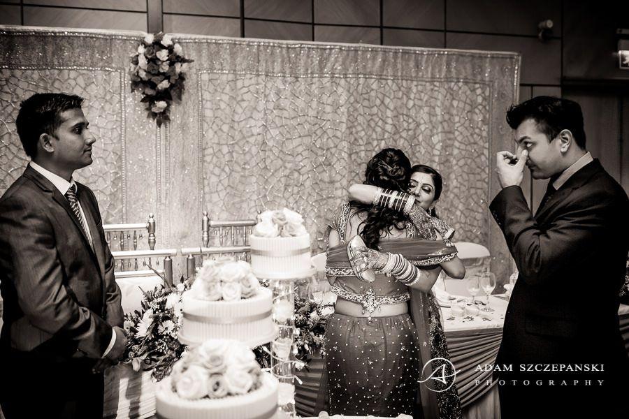 black and white asian wedding photo