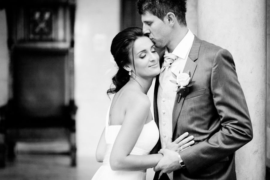 black and white romantic wedding portrait