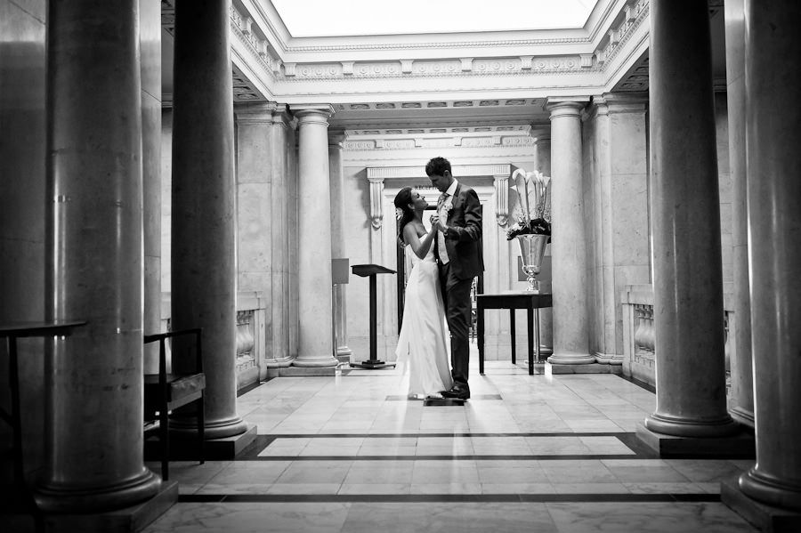 black and white wedding portrait london