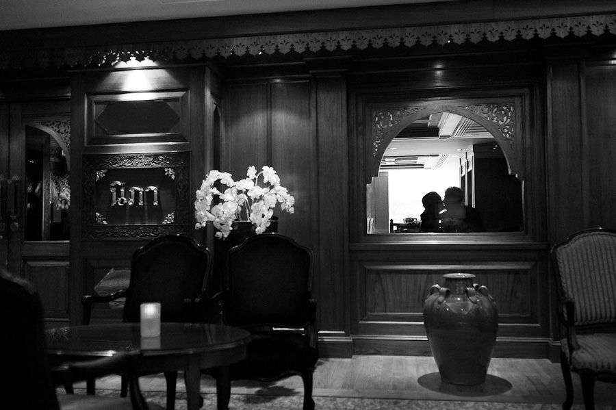 black and white wedding photo in lancaster hotel based in london area