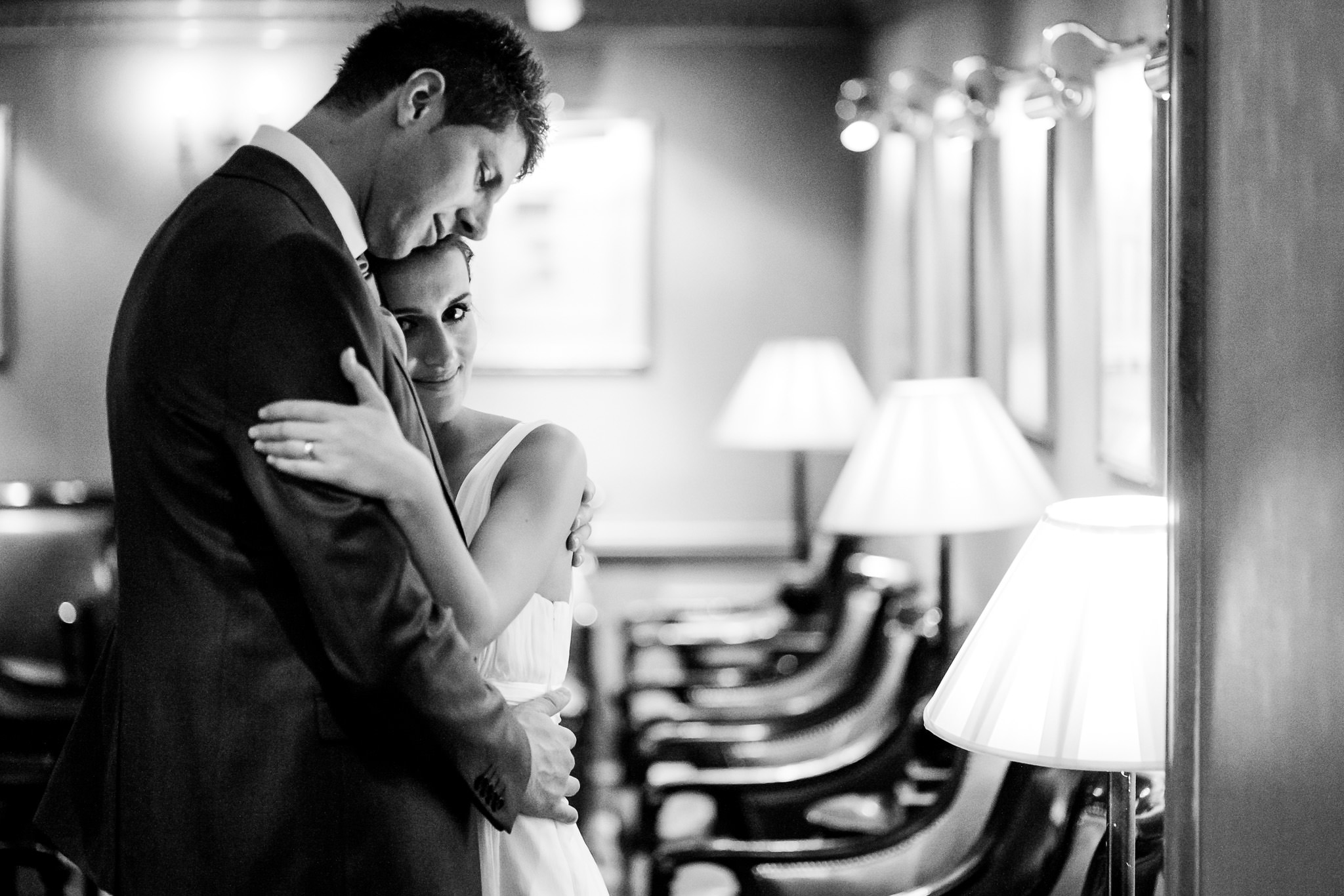 Lancaster London Hotel Wedding Photographer couple hugging