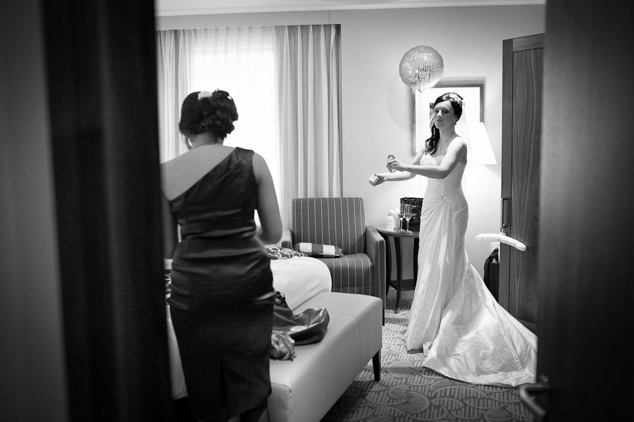 bride hannah black and white picture from the last preparations
