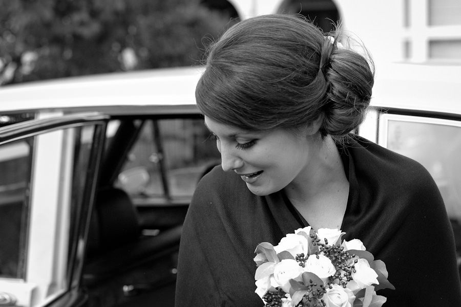 bride comes out of the car