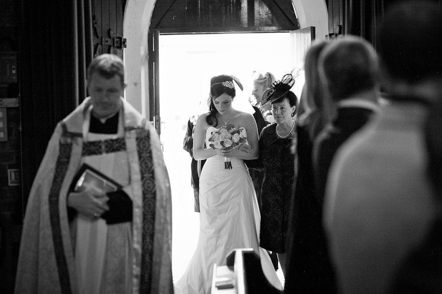 bride hannah enters the church