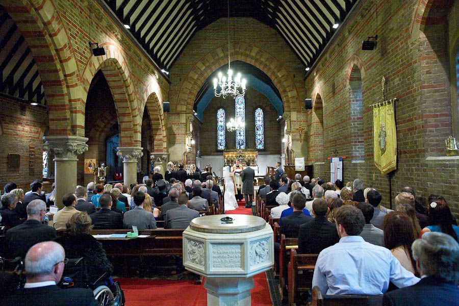 teddingtons chruch during the wedding ceremony