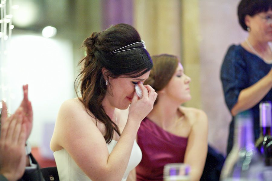 Moved bride cries during a wedding speech