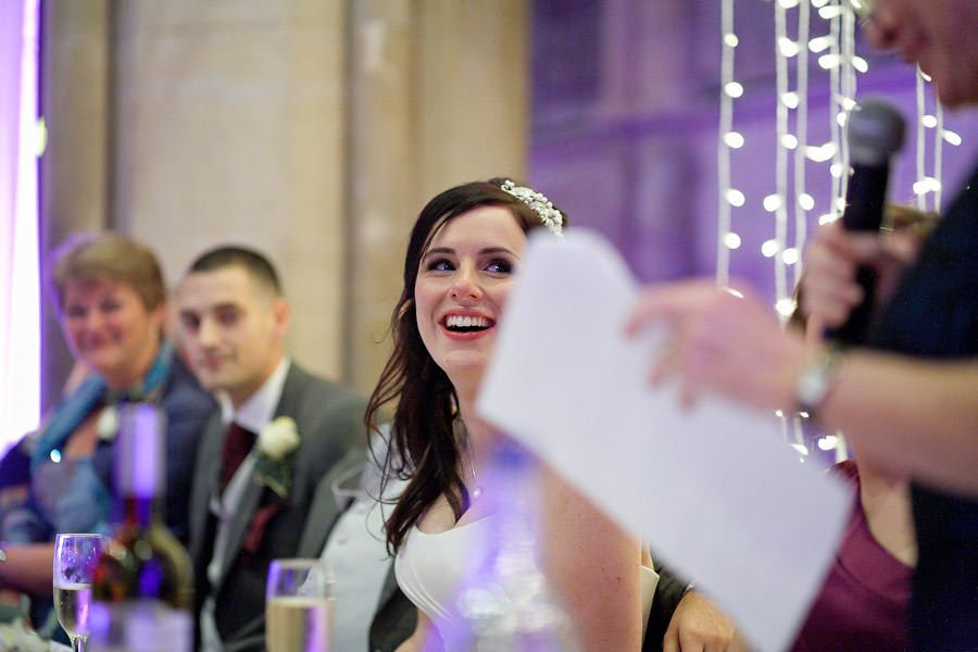 happy bride hannah at the wedding speech