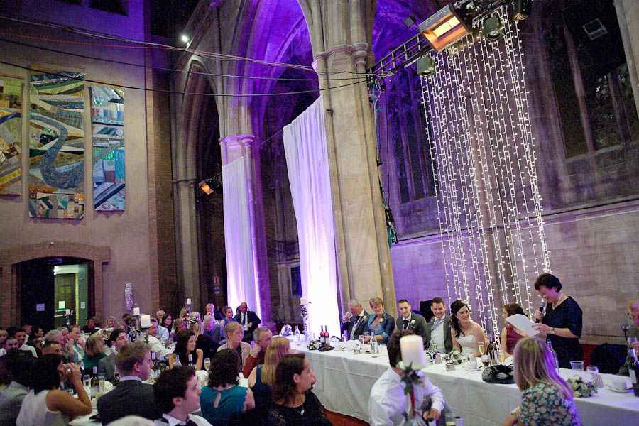 wedding guests at the beginning of the party in landmark arts centre