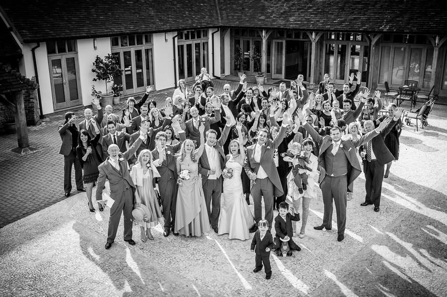 black and white group wedding portrait
