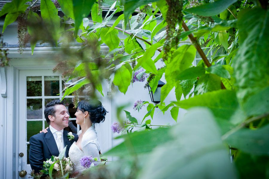 married couple in the garden