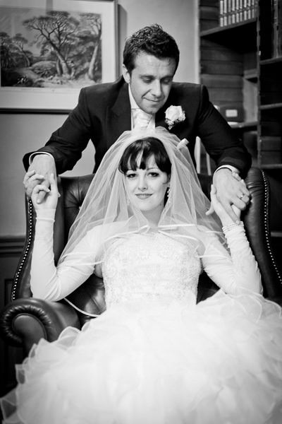 black and white portrait of the married couple trish and dan