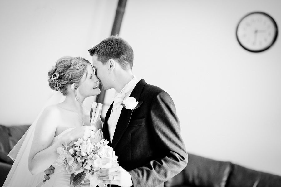 black and white romantic portrait of the married couple Kristen and Tom