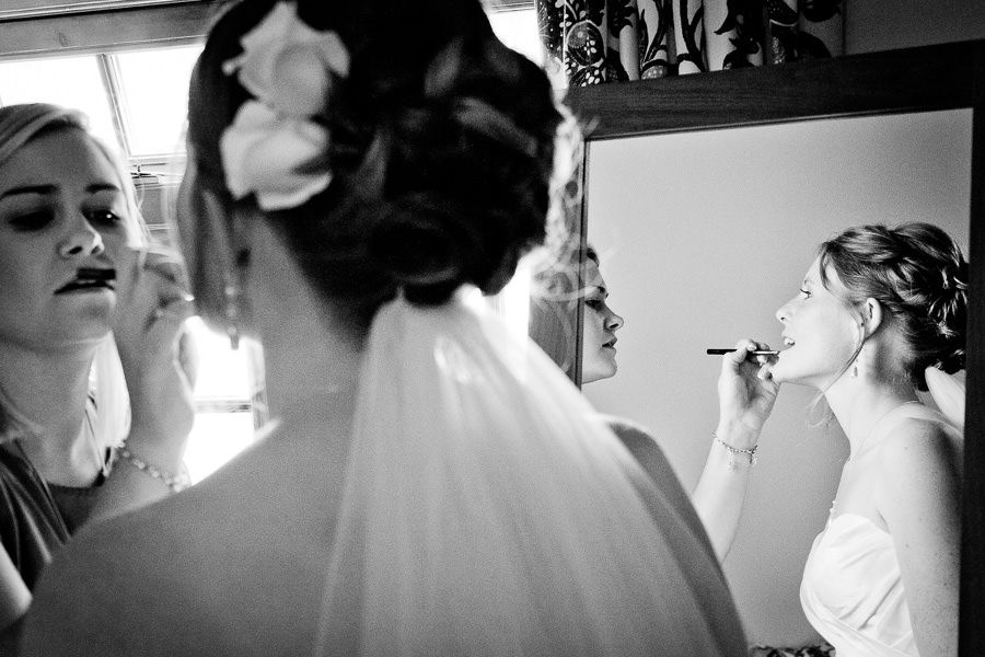 wedding make up during the last preparations for the ceremony