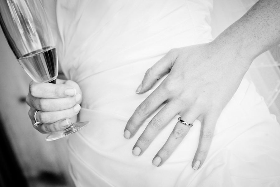 brides wedding ring and champaigne