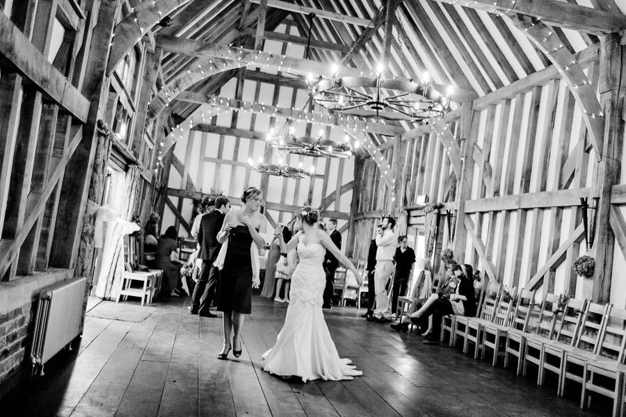 black and white photo of the wedding party in surrey