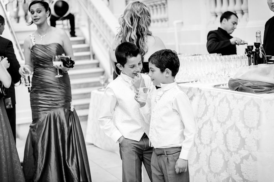 wedding black and white photo of the children