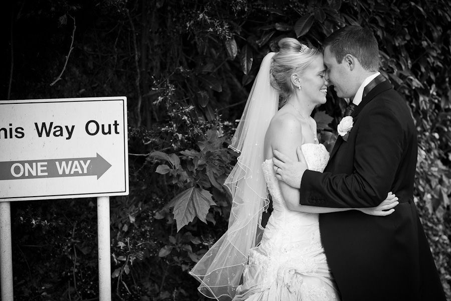 Emma and Matt black and white romantic wedding portrait