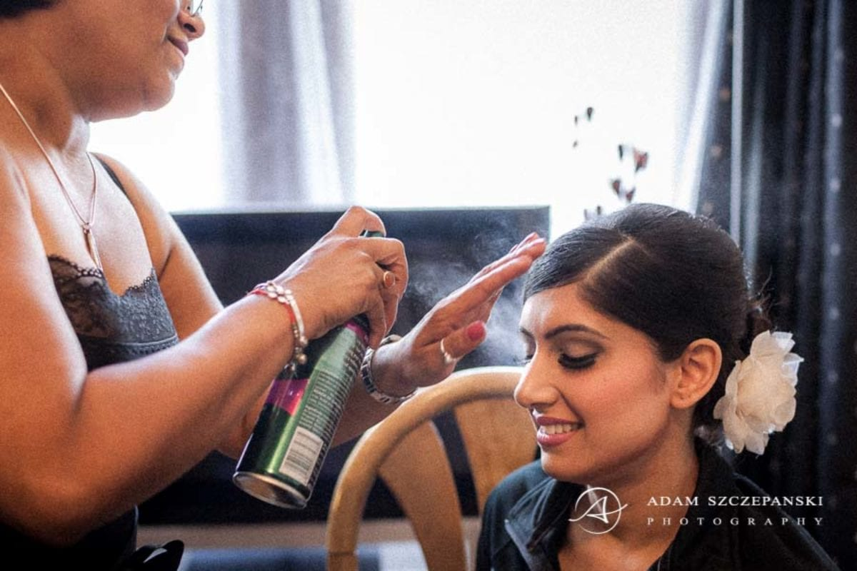 Wandsworth Town Hall Wedding Photographer bride nima makes a wedding hairstyle