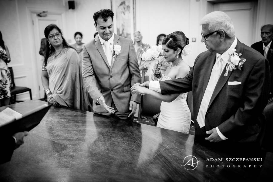 black and white picture of the wedding ceremony in london