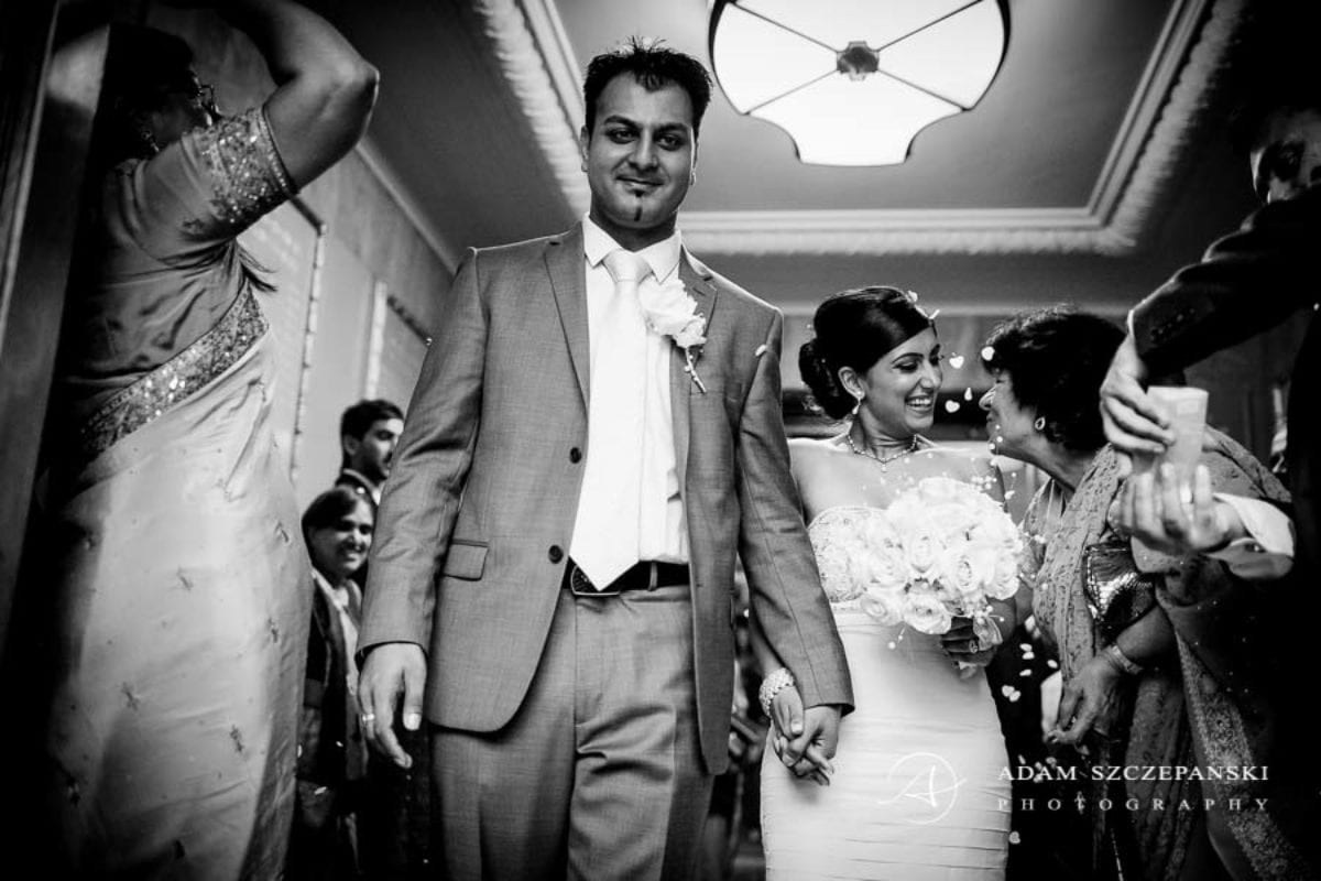Wandsworth Town Hall Wedding Photographer nima and karan just afte the wedding ceremony