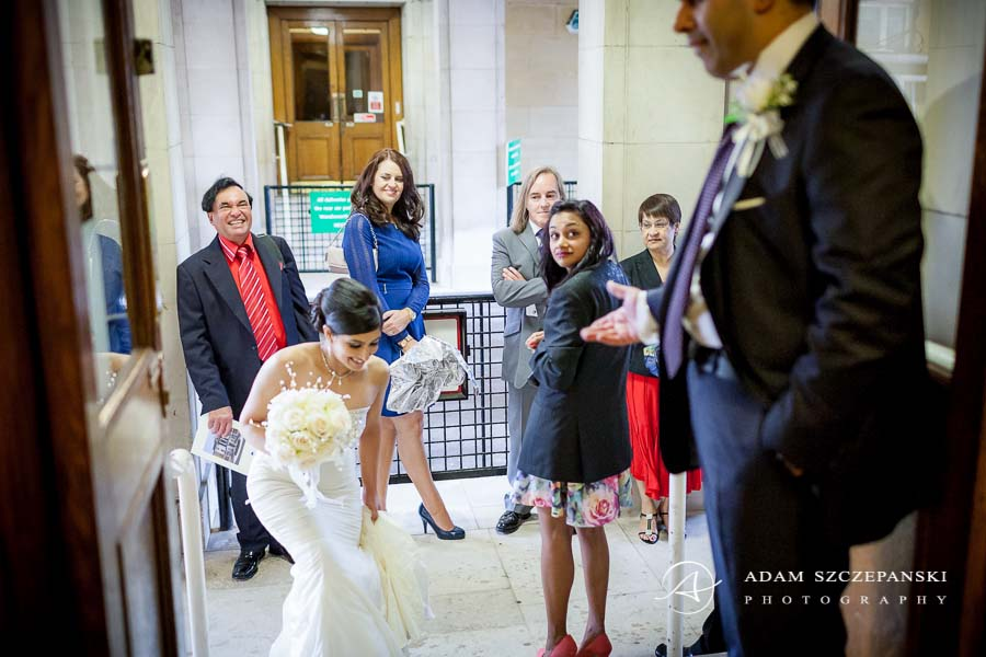 bride and the wedding guests in Wandsworth Town Hall in london