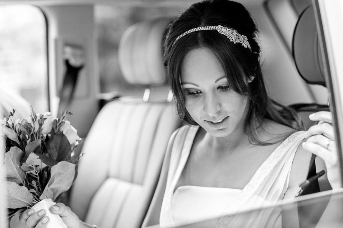 bride Natalie in the car