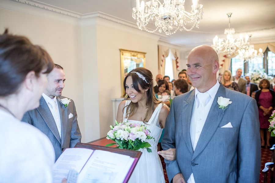 bride Natalie at the ceremony in weybridge registry office