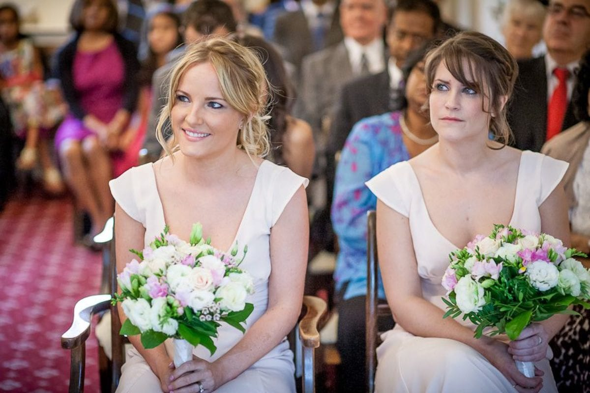 bridesmaids at the wedding ceremony in surrey