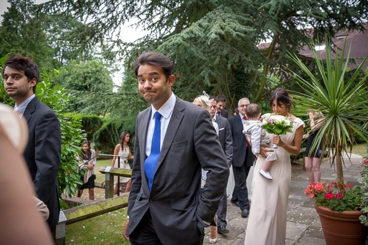 wedding guests in the garden