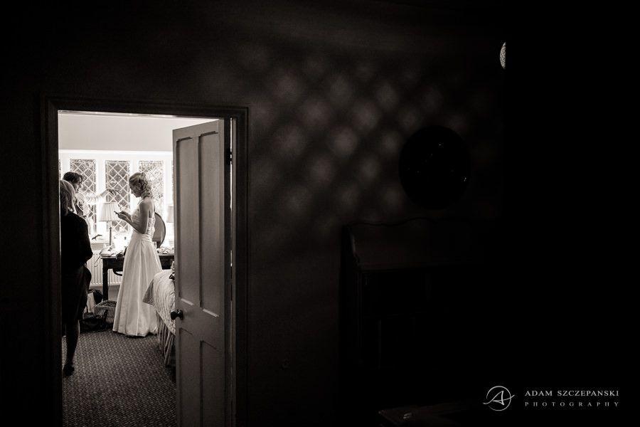 bride caroline in her family house