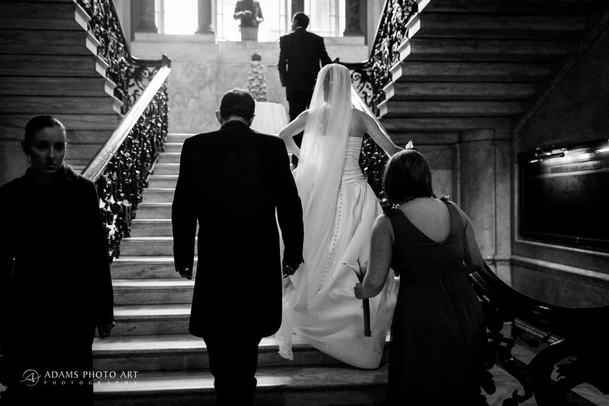 bride rebeca on the stairs