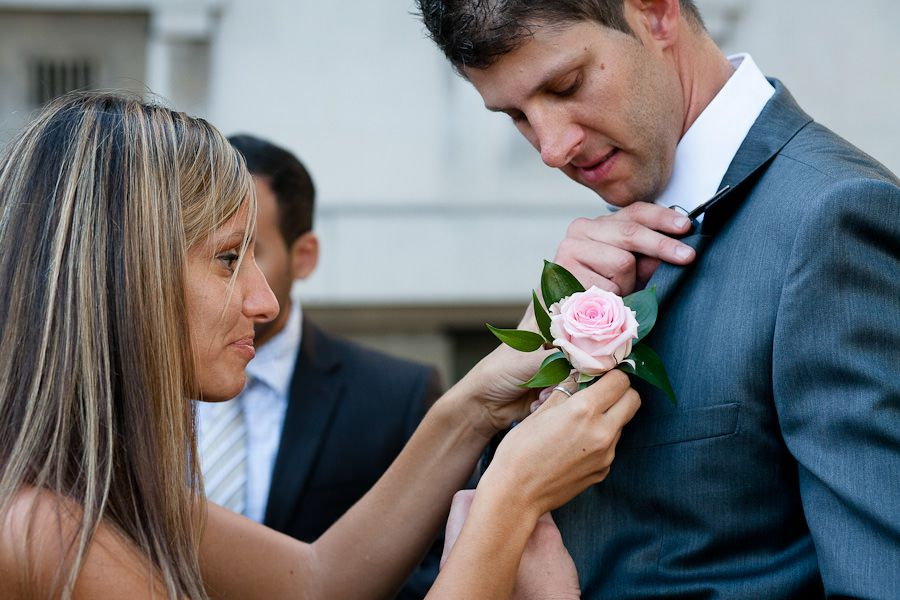 groom marcello with the pink rose