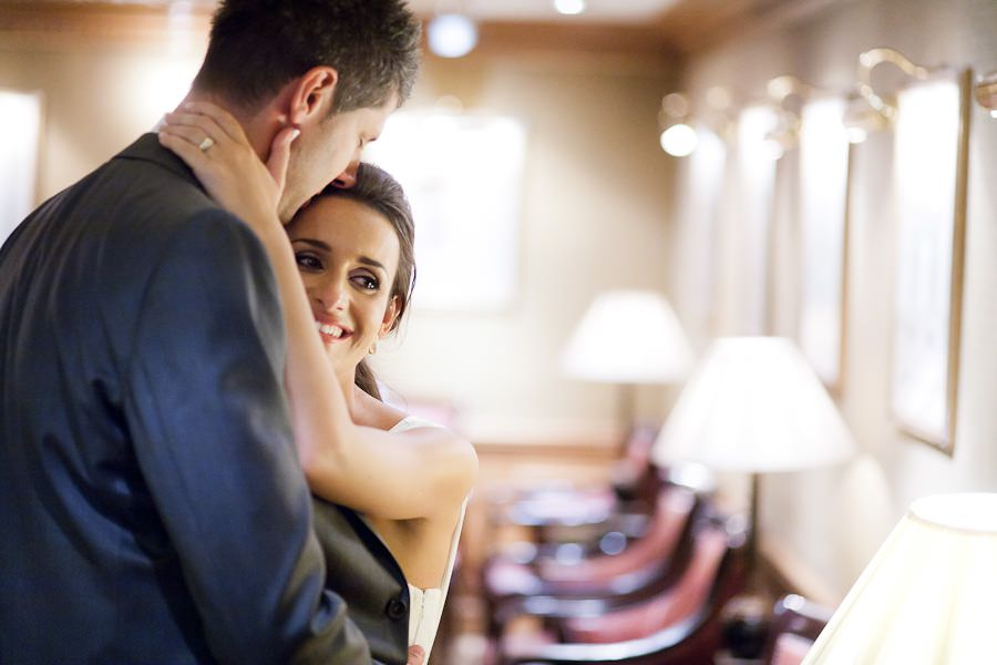 happy bride with her husband