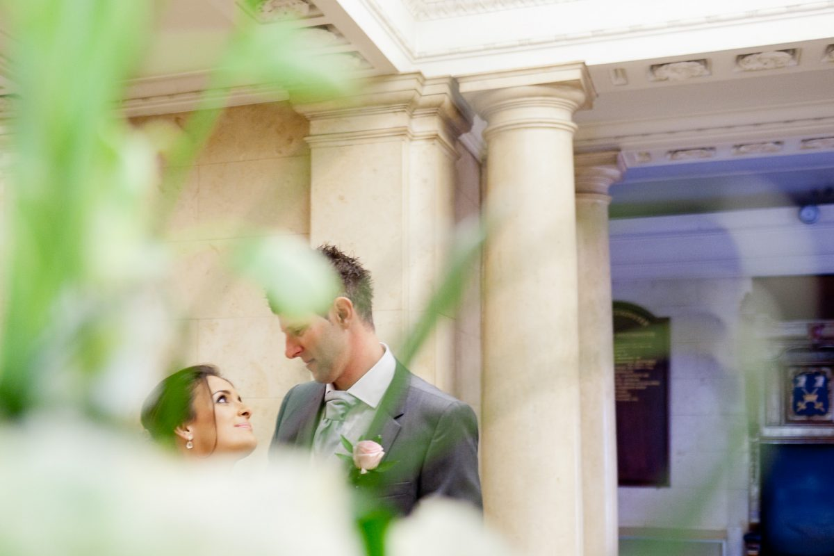 Old Marylebone Town Hall wedding couple portrait