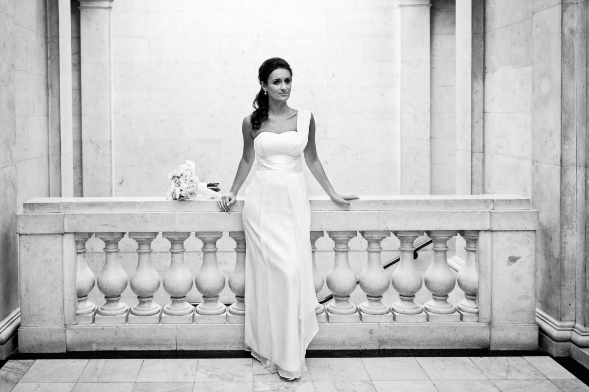 Old Marylebone Town Hall wedding bride in her dress