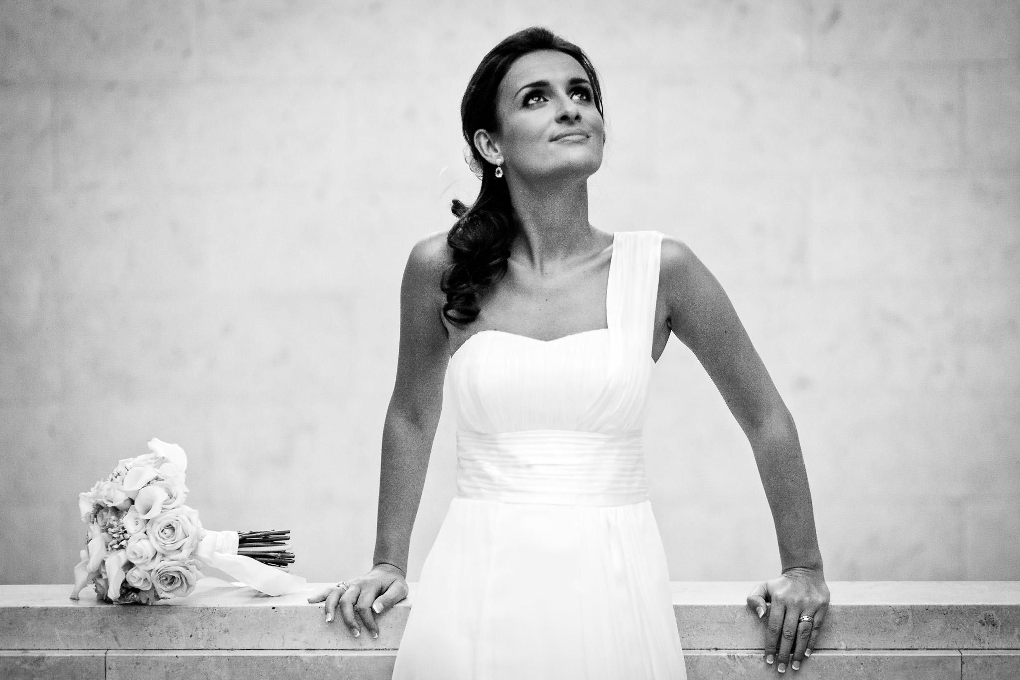 wedding bride looking up