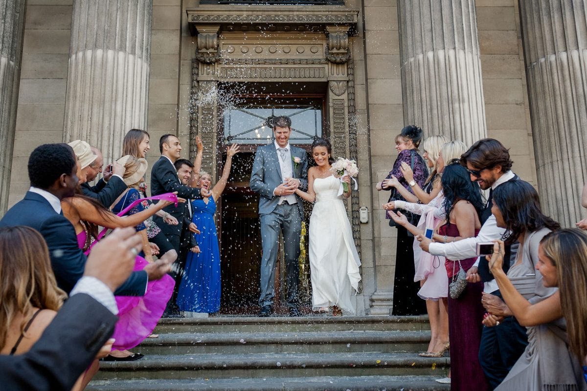 Old Marylebone Town Hall wedding confetti shot