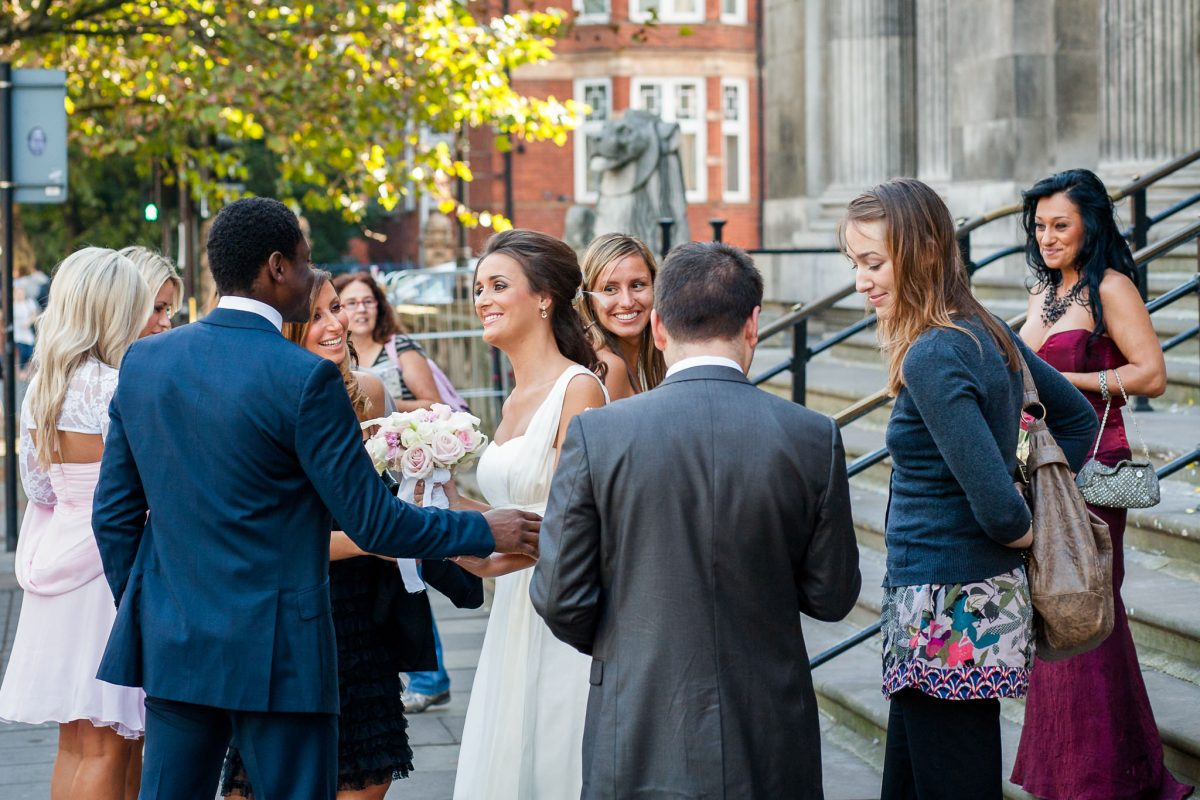 Old Marylebone Town Hall wedding bride welcomes the guests