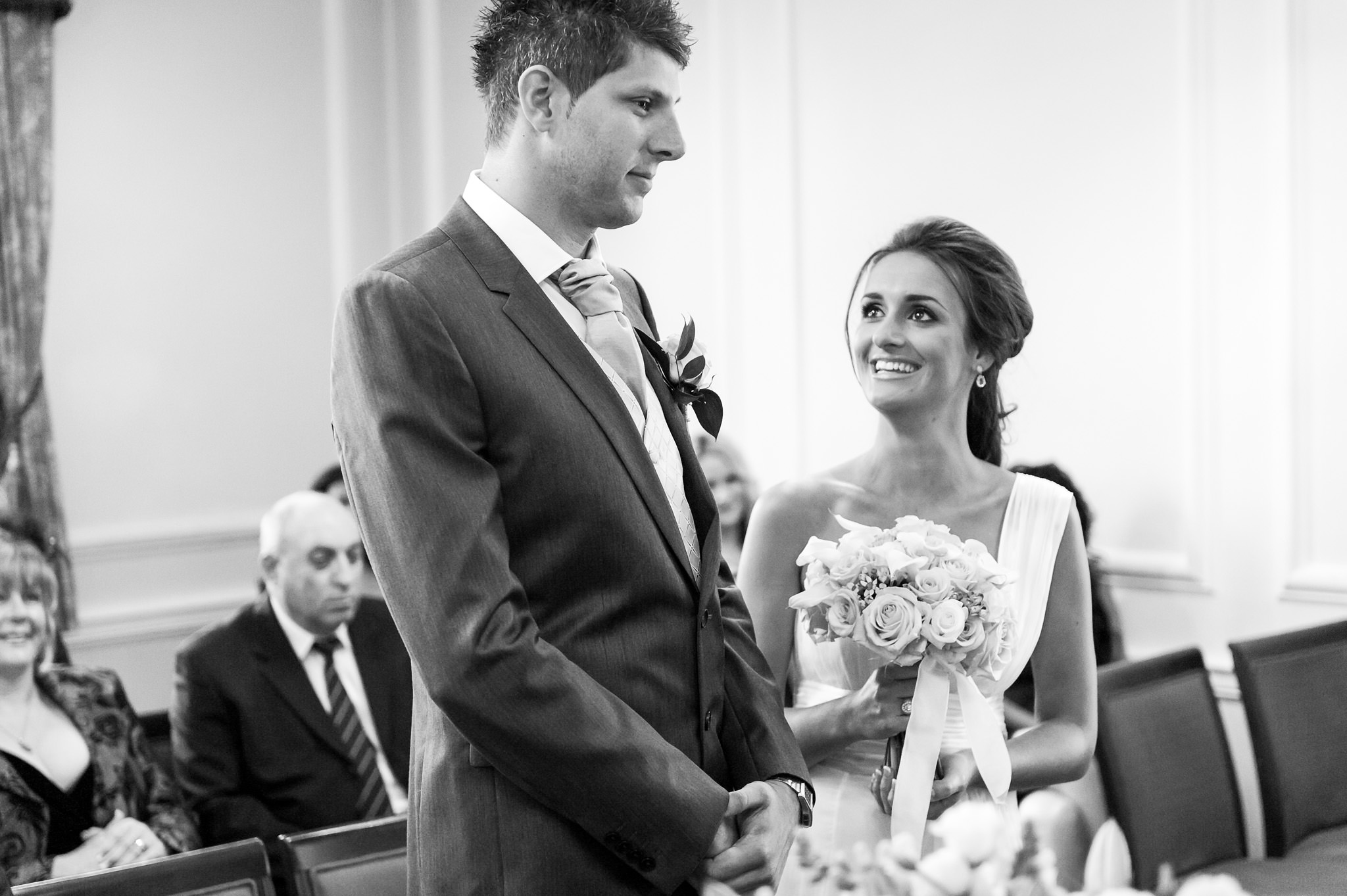 Old Marylebone Town Hall wedding bride and groom during the ceremony