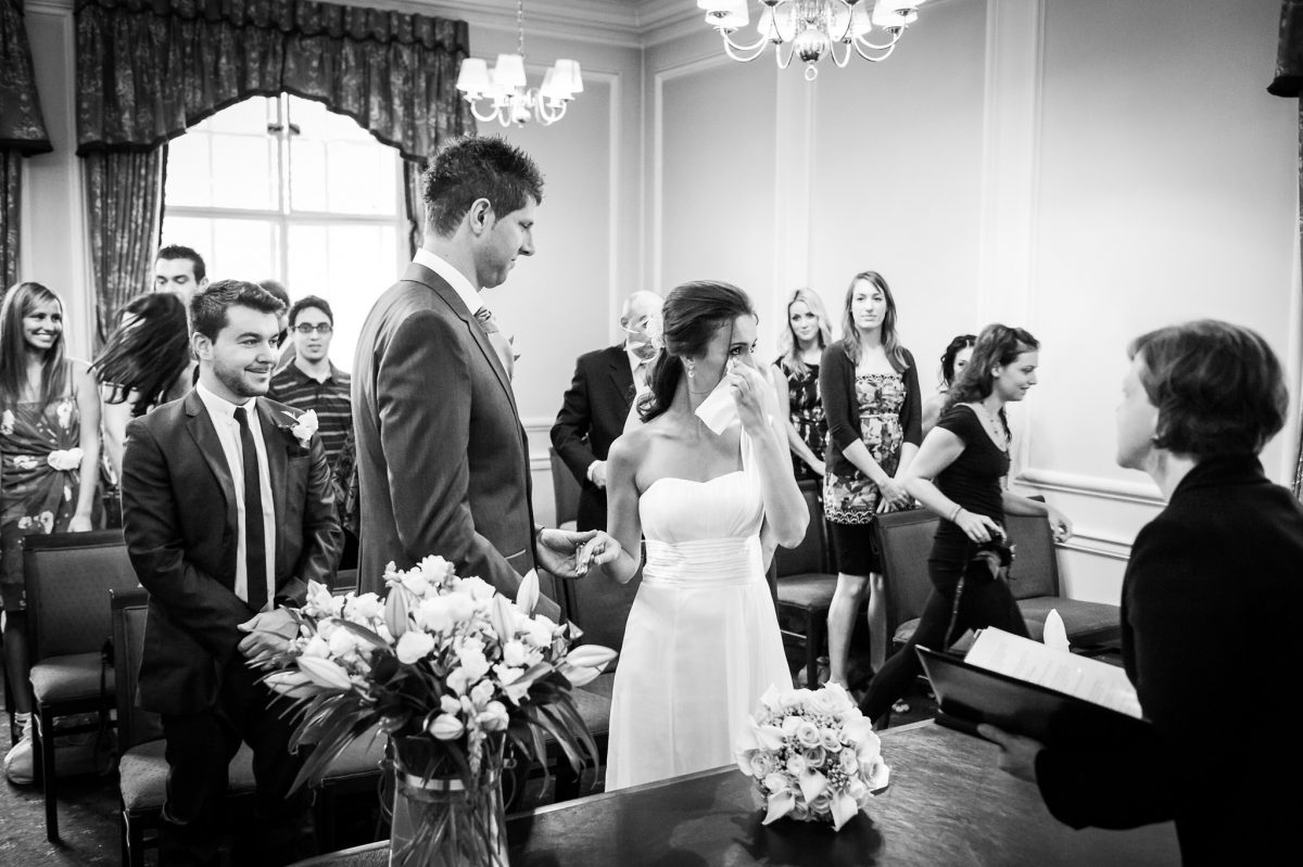 Old Marylebone Town Hall wedding bride got emotional