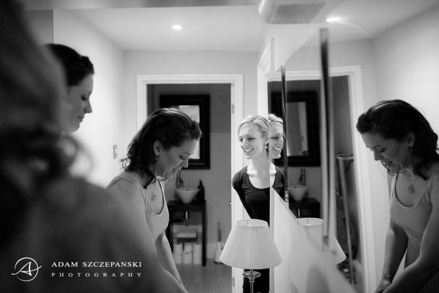 black and white wedding photo taken in documentary style