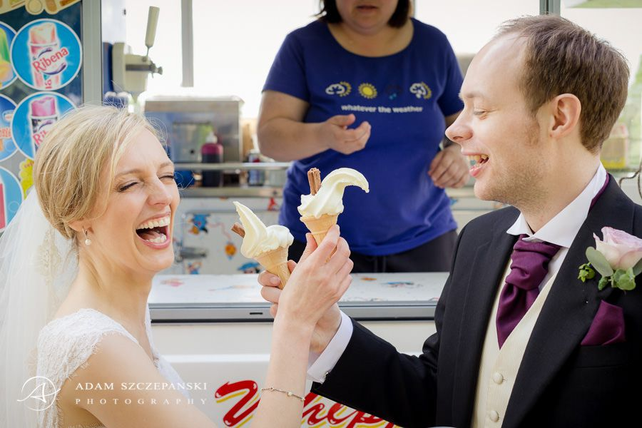 just married couple eating ice creams