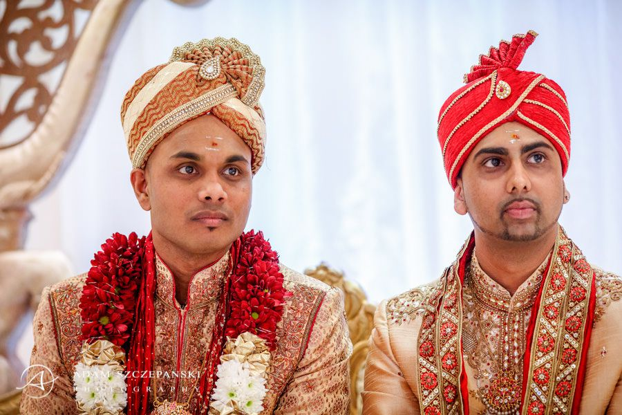 men during traditional asian wedding ceremony