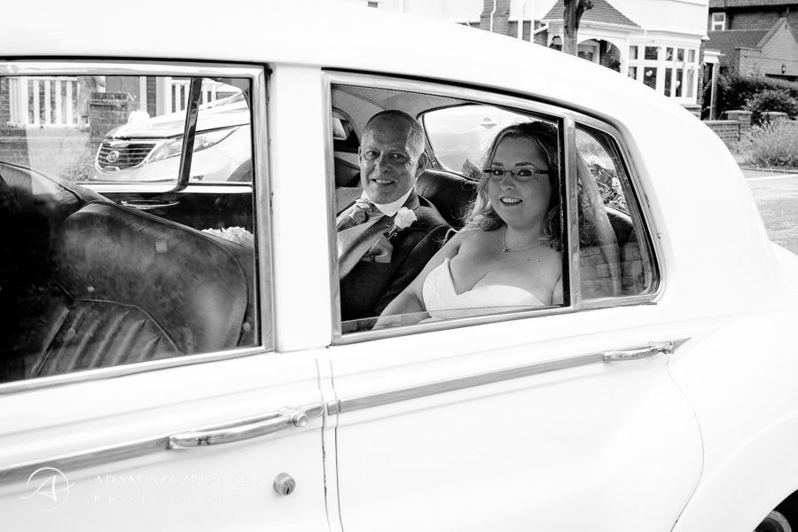 bride sam and her father in the car