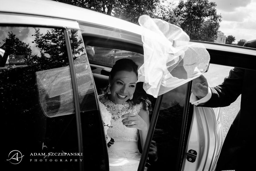 bride in the wedding car