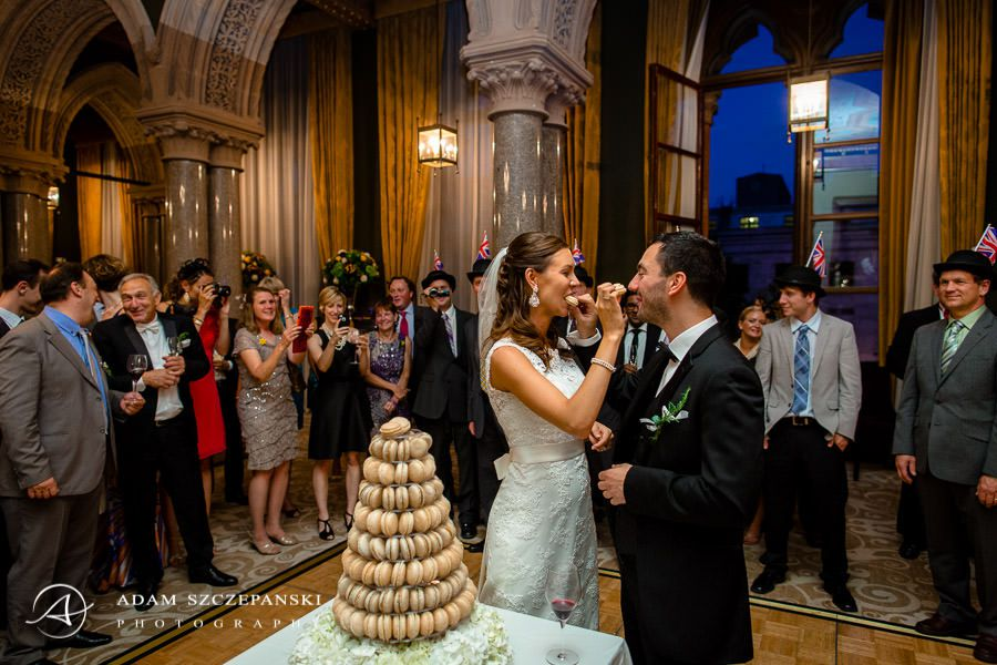 married couple eating cake