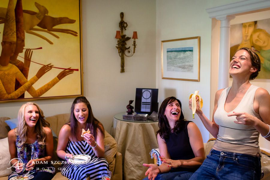 women laughing during the wedding preparations in bride emily family house